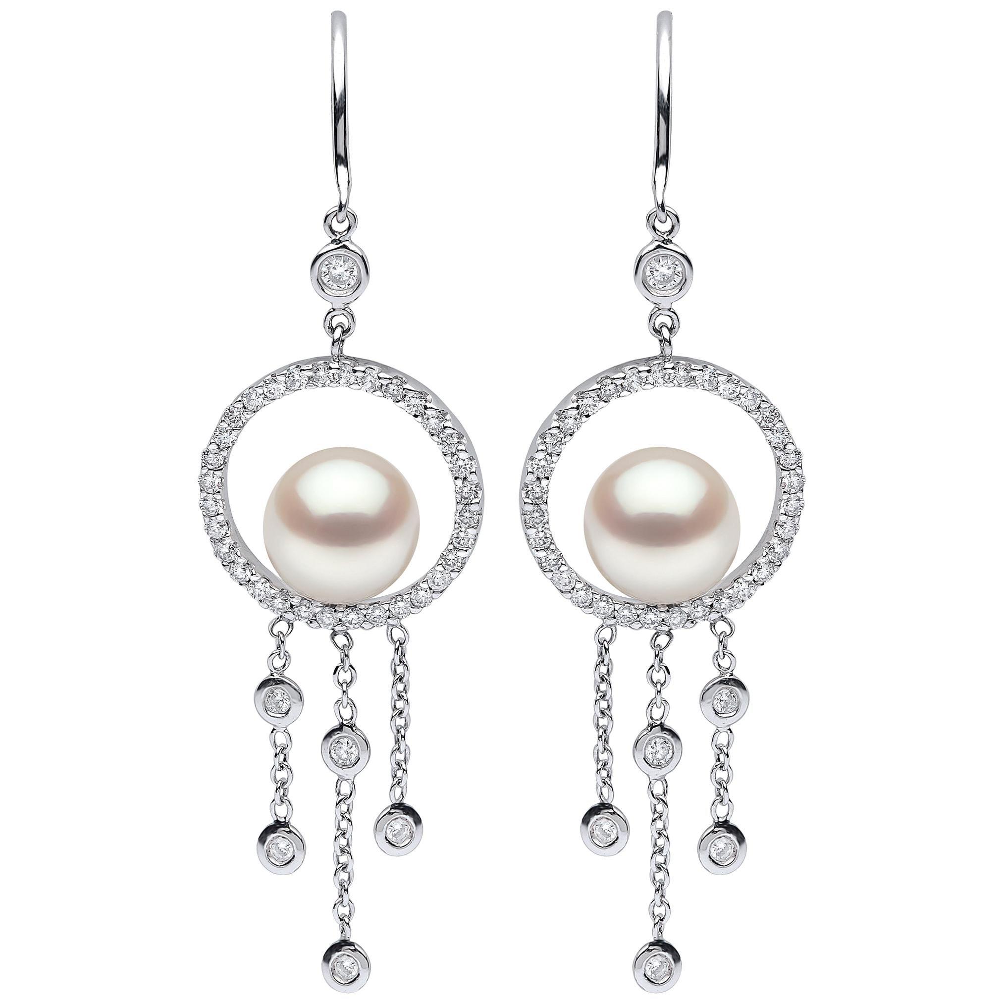 Yoko London Freshwater Pearl and Diamond Earrings in 18 Karat White Gold