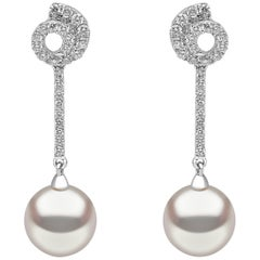 Yoko London Freshwater Pearl and Diamond Earrings in 18 Karat White Gold