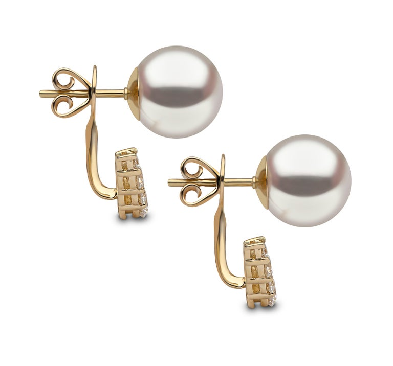 Contemporary Yoko London Freshwater Pearl and Diamond Earrings in 18 Karat Yellow Gold For Sale
