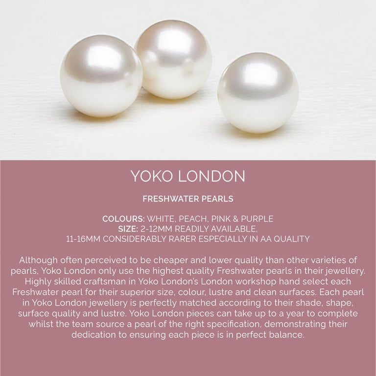 Round Cut Yoko London Freshwater Pearl and Diamond Earrings in 18 Karat Yellow Gold For Sale