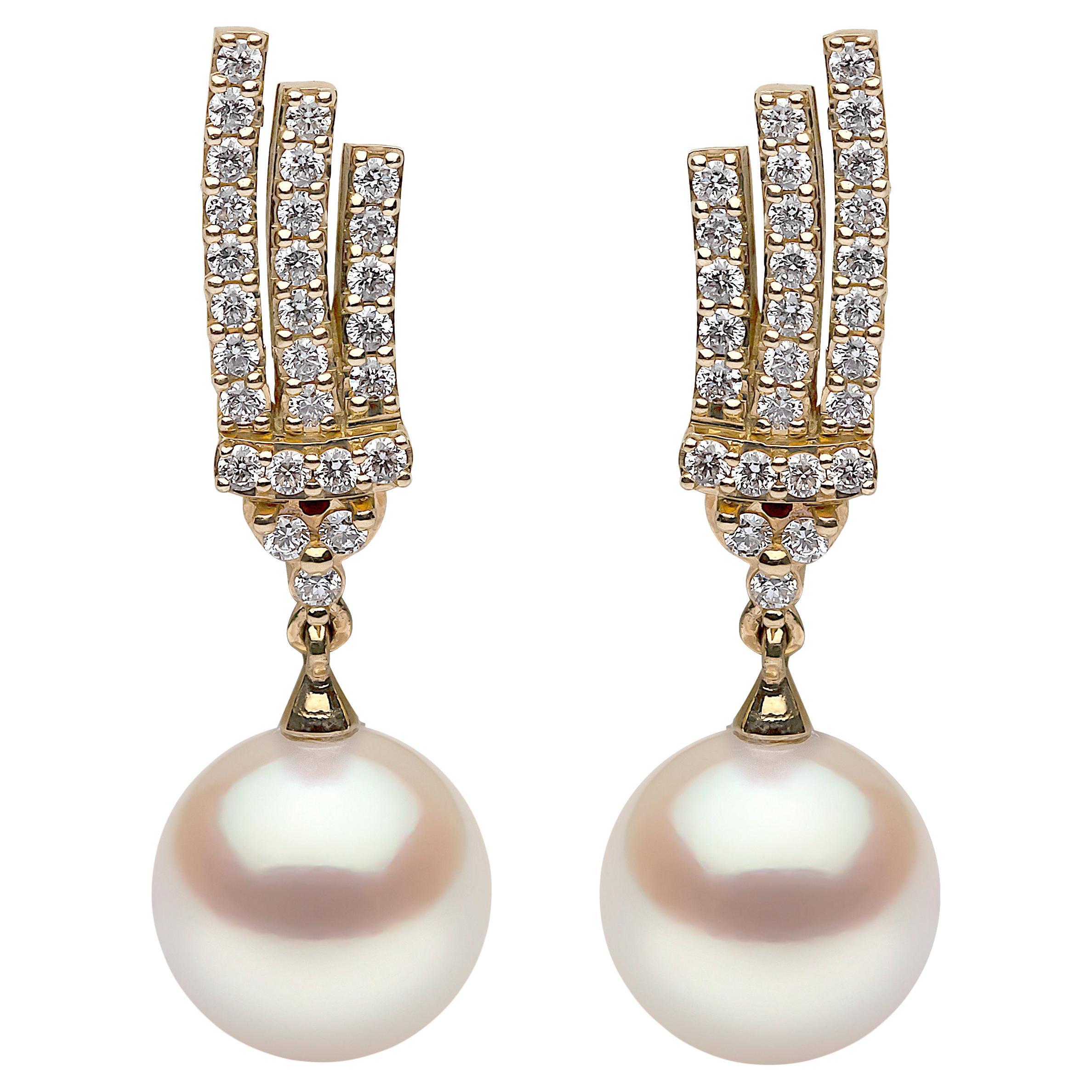 Yoko London Freshwater Pearl and Diamond Earrings in 18 Karat Yellow Gold