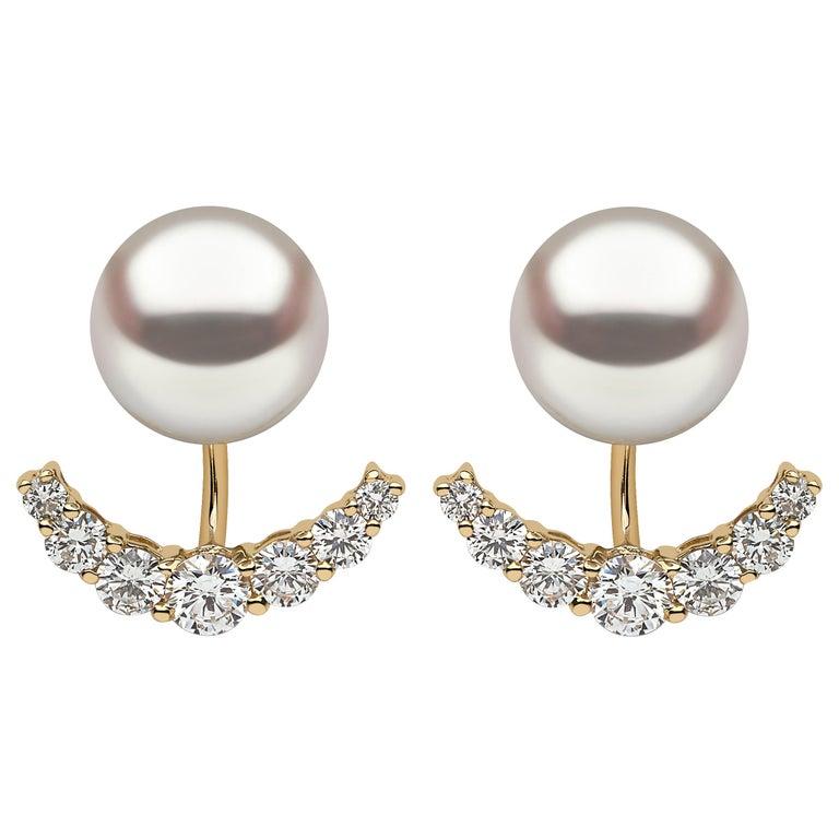 Yoko London Freshwater Pearl and Diamond Earrings in 18 Karat Yellow Gold For Sale