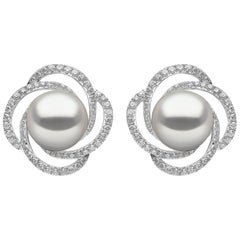 Yoko London Freshwater Pearl and Diamond Earrings Set in 18 Karat White Gold