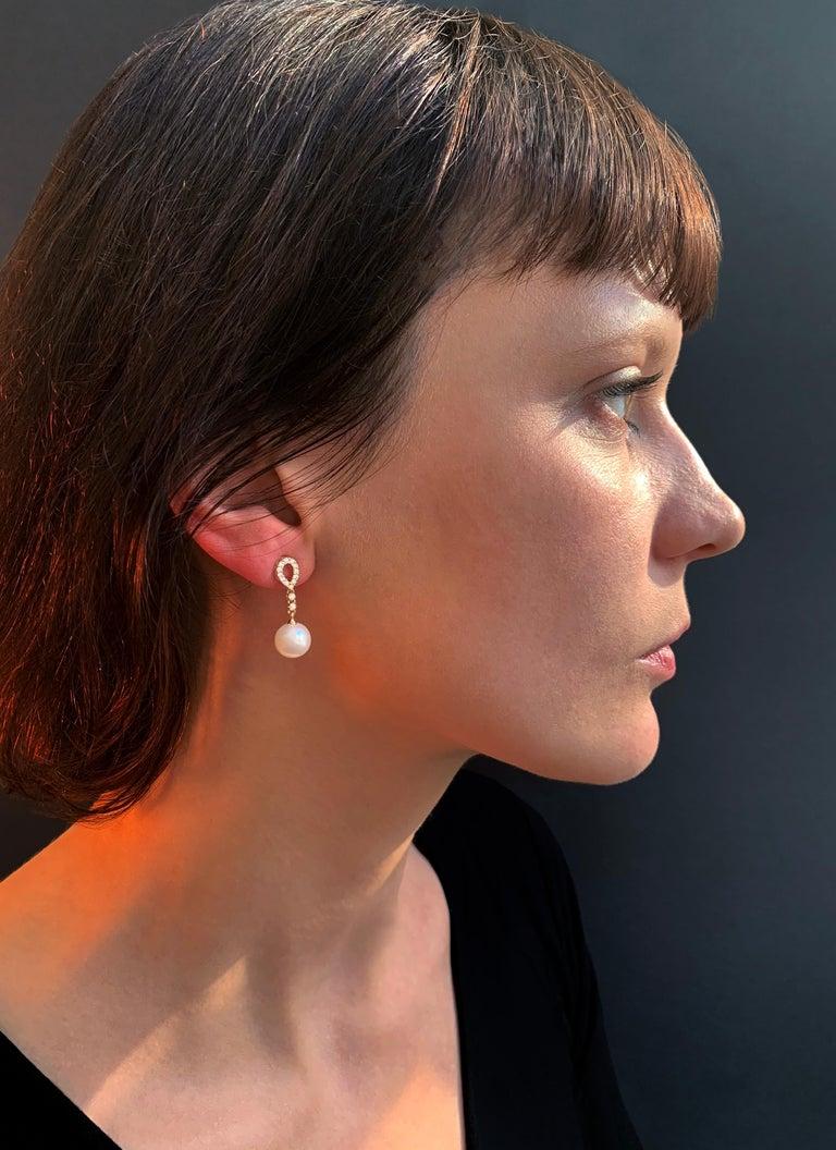 Modern Yoko London Freshwater Pearl and Diamond Earrings, Set in 18 Karat Yellow Gold For Sale