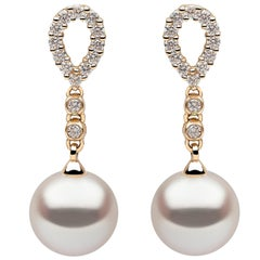 Yoko London Freshwater Pearl and Diamond Earrings, Set in 18 Karat Yellow Gold