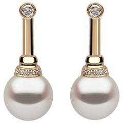 Yoko London Freshwater Pearl and Diamond Earrings Set in 18 Karat Yellow Gold