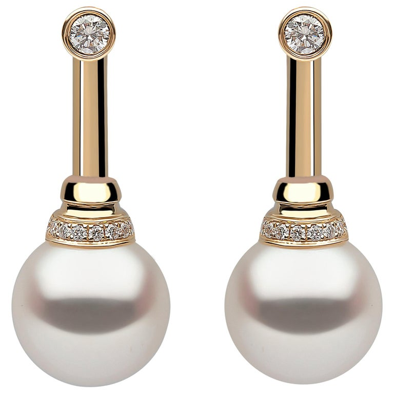 Yoko London Freshwater Pearl and Diamond Earrings Set in 18 Karat Yellow Gold For Sale