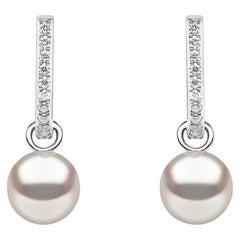 Yoko London Freshwater Pearl and Diamond Hoop Earrings in 18 Karat White Gold