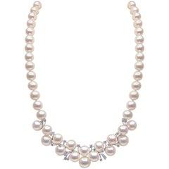 Yoko London Freshwater Pearl and Diamond Necklace in 18 Karat White Gold