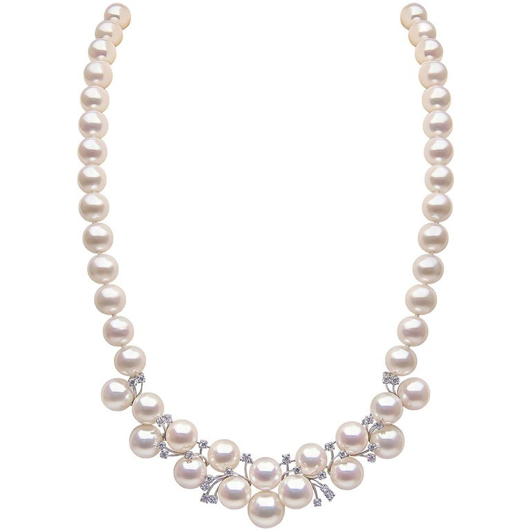 Yoko London Freshwater Pearl and Diamond Necklace in 18 Karat White Gold For Sale