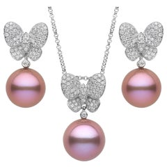 Yoko London Freshwater Pearl and Diamond Pendant & Earring Set in 18 Karat Gold