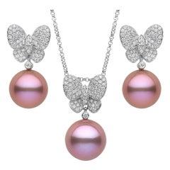 Yoko London Freshwater Pearl and Diamond Pendant & Earring Set in 18 Karat Gold