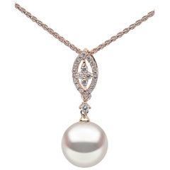 Yoko London Freshwater Pearl and Diamond Pendant in 18 Karat Rose Gold