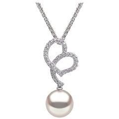 Yoko London Freshwater Pearl and Diamond Pendant in 18 Karat White Gold