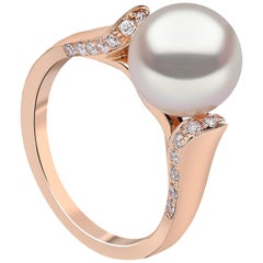 Yoko London Freshwater Pearl and Diamond Ring in 18 Karat Rose Gold