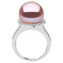 Yoko London Freshwater Pearl and Diamond Ring in 18 Karat White Gold