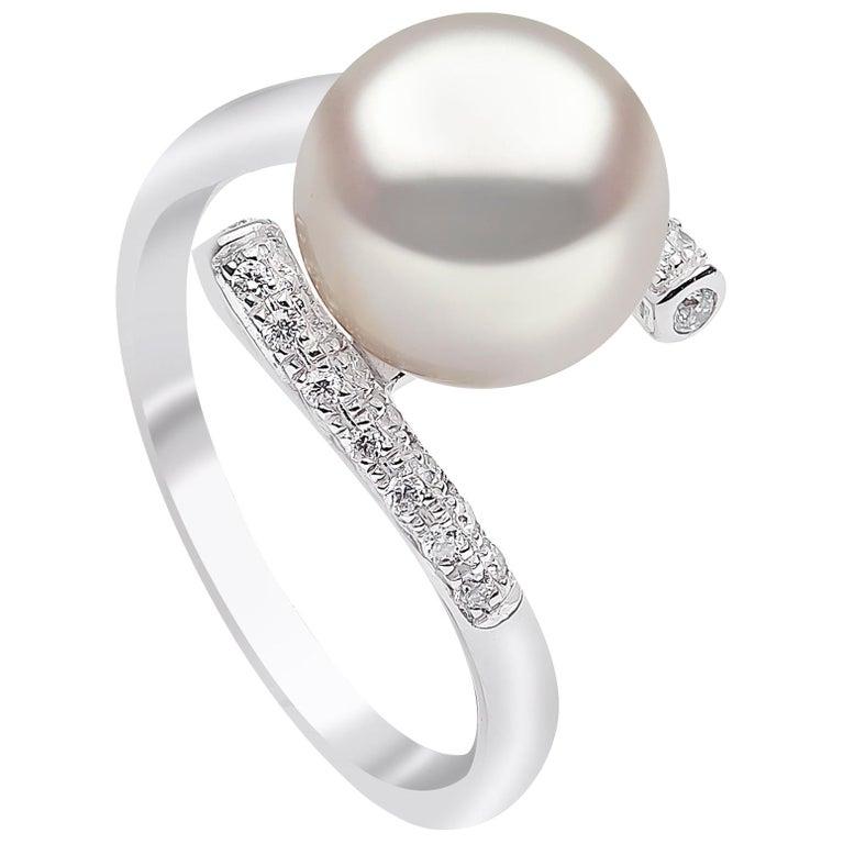 Yoko London Freshwater Pearl and Diamond Ring in 18 Karat White Gold For Sale