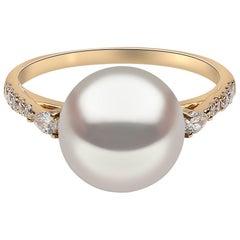 Yoko London Freshwater Pearl and Diamond Ring in 18 Karat Yellow Gold