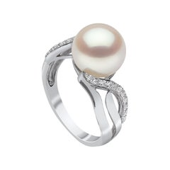 Yoko London Freshwater Pearl and Diamond Ring in 18k White Gold