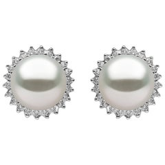 Yoko London Freshwater Pearl and Diamond Stud Earrings, Set in 18 Karat Gold