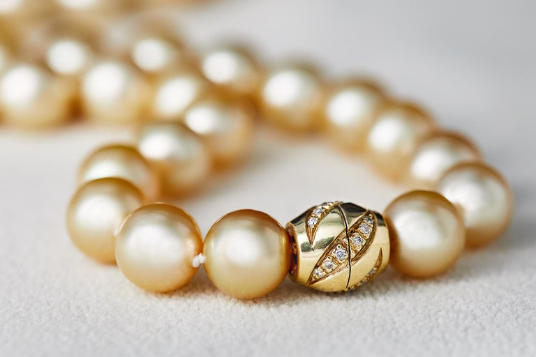 Yoko London Golden South Sea Classic Row Necklace with 18K Yellow Gold Clasp In New Condition For Sale In London, GB