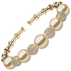 Yoko London Golden South Sea Pearl and Diamond Bangle in 18 Karat Yellow Gold