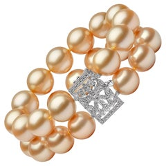 Yoko London Golden South Sea Pearl and Diamond Bracelet in 18 Karat White Gold