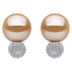 Yoko London Golden South Sea Pearl and Diamond Earrings in 18 Karat White Gold