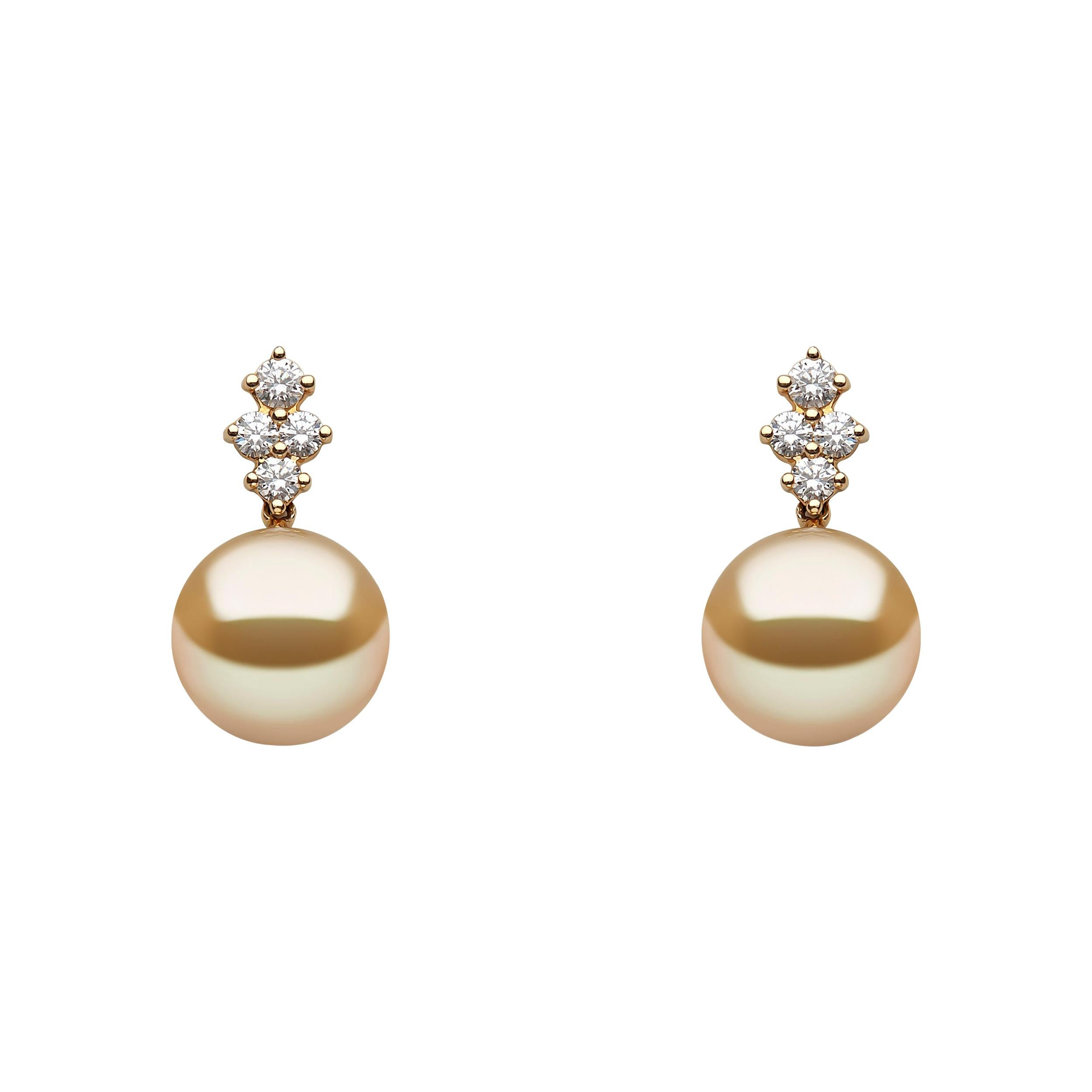 Yoko London Golden South Sea Pearl and Diamond Earrings in 18 Karat Yellow Gold