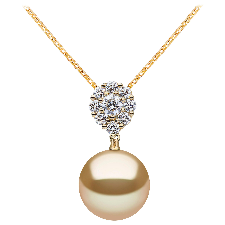 Yoko London Golden South Sea Pearl and Diamond Pendant in 18 Karat Yellow Gold