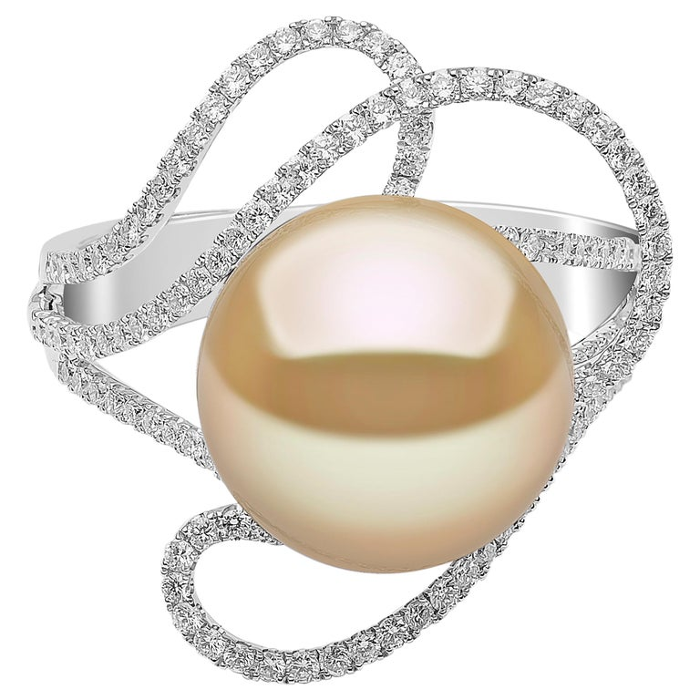 Yoko London Golden South Sea Pearl and Diamond Ring in 18 Karat White Gold For Sale