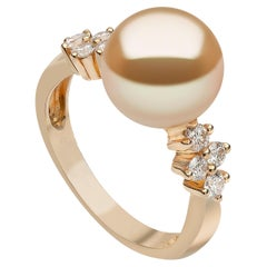 Yoko London Golden South Sea Pearl and Diamond Ring in 18 Karat Yellow Gold
