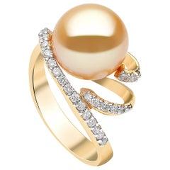 Yoko London Golden South Sea Pearl and Diamond Ring Set in 18 Karat Yellow Gold