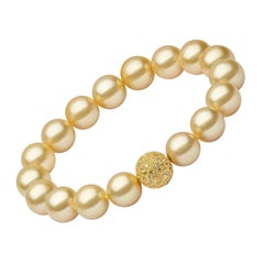 Yoko London Golden South Sea Pearl and Yellow Sapphire Bracelet in 18 Karat Gold