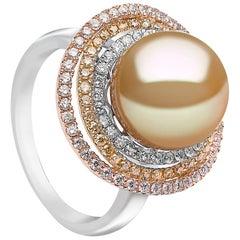 Yoko London Golden South Sea Pearl, White and Yellow Diamond Ring in 18K Gold