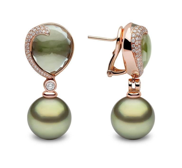 Contemporary Yoko London Green Amethyst, Diamond and Pearl Earrings in 18 Karat Rose Gold