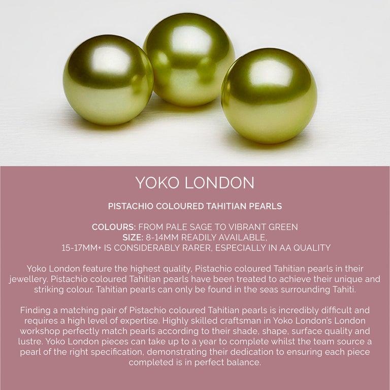Round Cut Yoko London Green Amethyst, Diamond and Pearl Earrings in 18 Karat Rose Gold