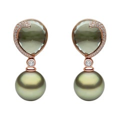 Yoko London Green Amethyst, Diamond and Pearl Earrings in 18 Karat Rose Gold