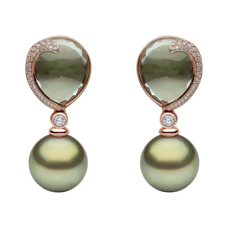 Yoko London Green Amethyst, Diamond and Pearl Earrings in 18 Karat Rose Gold