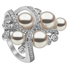 Yoko London Japanese Akoya and Diamond Ring in 18 Karat White Gold