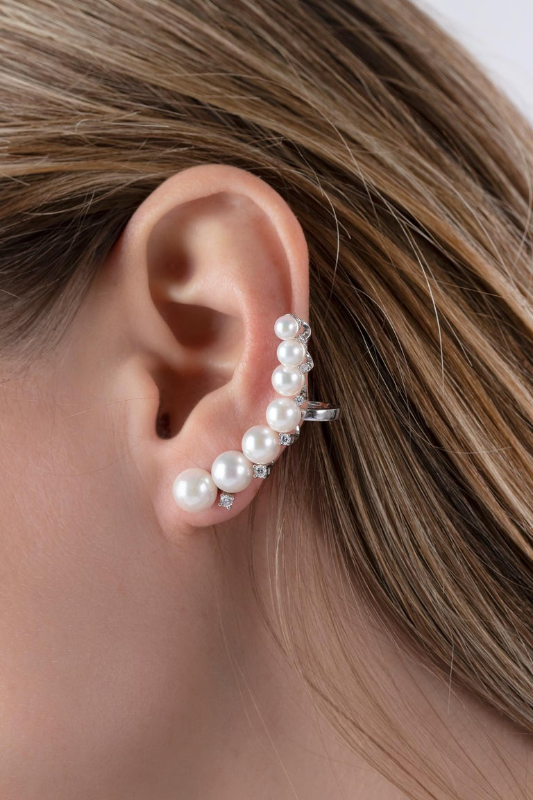 Contemporary Yoko London Japanese Akoya Pearl and Diamond Ear Climbers 18 Karat White Gold For Sale