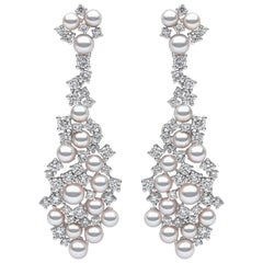 Yoko London Japanese Akoya Pearl and Diamond Earrings in 18 Karat White Gold