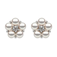 Yoko London Japanese Akoya Pearl and Diamond Floral Earrings in 18 Carat