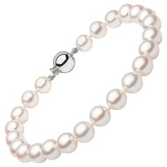 Yoko London Japanese Akoya Pearl Bracelet in 18 Karat White Gold Diamond Clasp