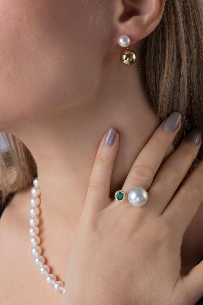 Contemporary Yoko London Japanese Akoya Pearl Earrings in 18 Karat Yellow Gold