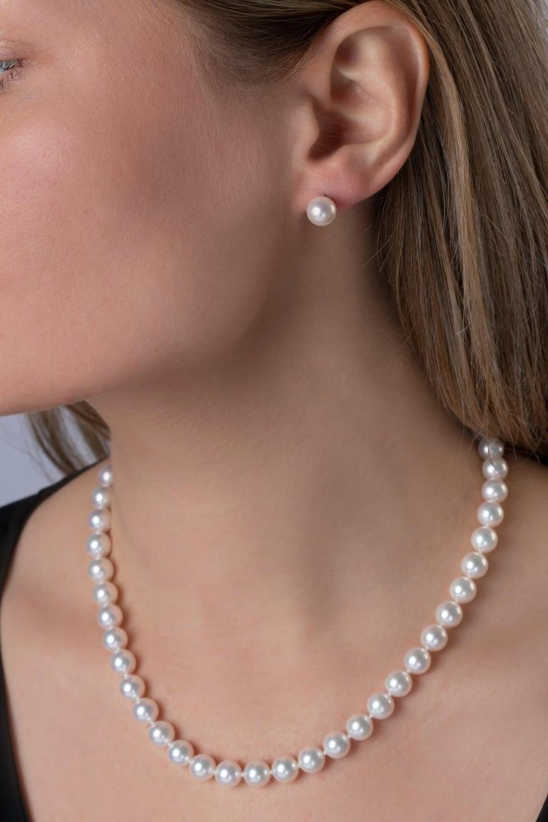Contemporary Yoko London Japanese Akoya Pearl Stud Earrings in 18 Karat White Gold For Sale