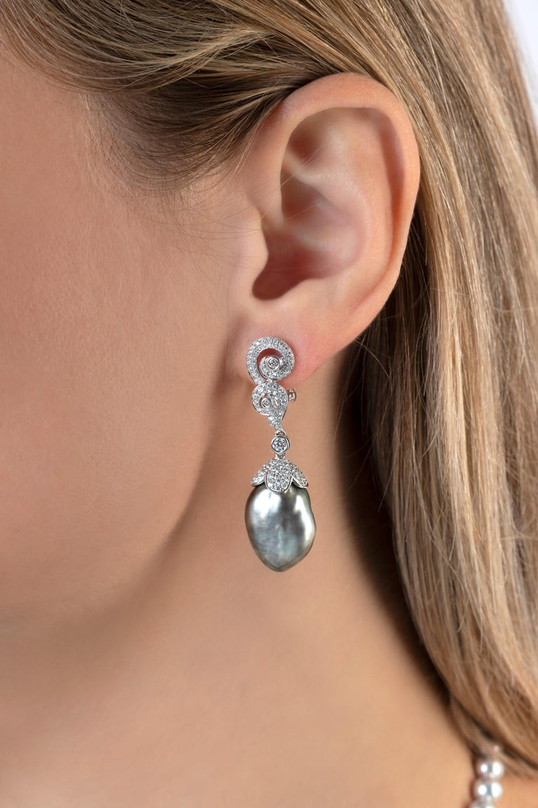 Modern Yoko London Keshi Tahitian Pearl and Diamond Earrings in 18 Karat White Gold For Sale