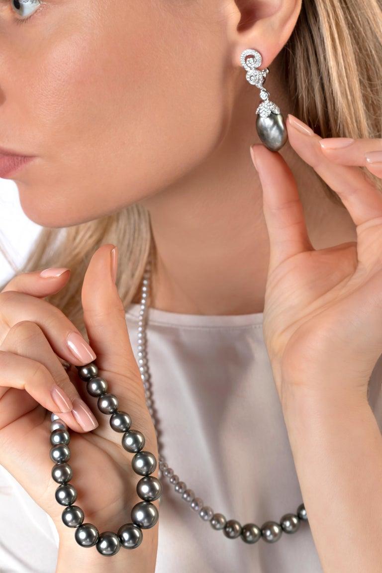 Round Cut Yoko London Keshi Tahitian Pearl and Diamond Earrings in 18 Karat White Gold For Sale