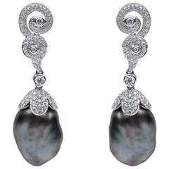 Yoko London Keshi Tahitian Pearl and Diamond Earrings in 18 Karat White Gold