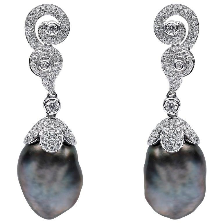 Yoko London Keshi Tahitian Pearl and Diamond Earrings in 18 Karat White Gold For Sale